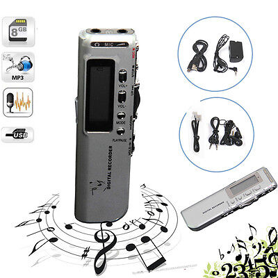 8GB USB VOR Rechargeable Digital Audio Voice Recorder Pen 650Hr Dictaphone