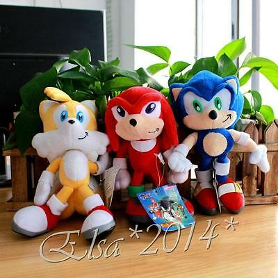 """Sonic the Hedgehog Plush Doll Stuffed Toy Sonic Knuckles Tails 8.7"""" Xmas Gift"""