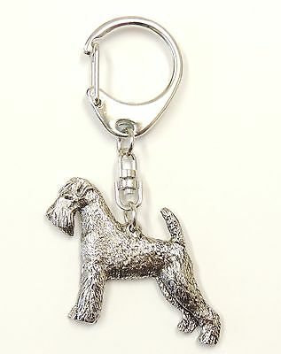 Airedale Terrier Silver Keyring
