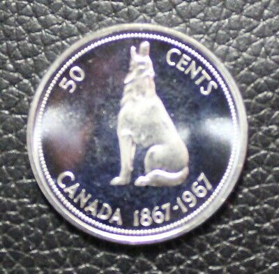 1867 1967 Canada Wolf Silver Half Dollar Mint Uncirculated 50 Cent Coin