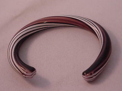 Rare Vintage Lucite Bangle Bracelet Shades of Brown, White and Black Swirls 60's