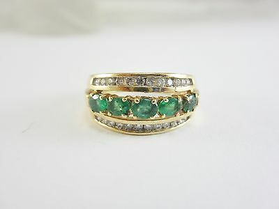 14K Yellow Gold Oval Cut Emerald & Diamond Band 5.8G