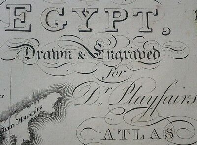 1821 LARGE MAP EGYPT & ANCIENT AEGYPTUS ANTIQUA HAND COLOURED  23 x 19 inches