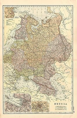 1908 LARGE VICTORIAN MAP ~ RUSSIA FINLAND ~ St PETERSBURG MOSCOW ODESSA