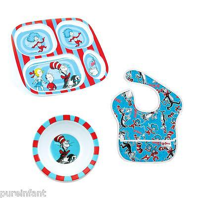 NEW Bumkins Dr. Seuss Melamine Feeding Gift Set: Cat in the Hat