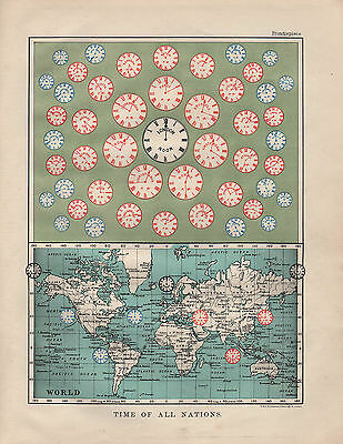 1901 VICTORIAN MAP ~ TIME OF ALL NATIONS ~ THE WORLD EUROPE ASIA AMERICA etc
