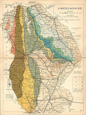 1889 Hand Coloured Geological Map ~ Lincolnshire Flint Clay Chalk Geology