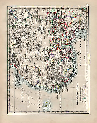 1902 Victorian Map ~ North-West Africa ~ European Possessions Canary Cape Verd