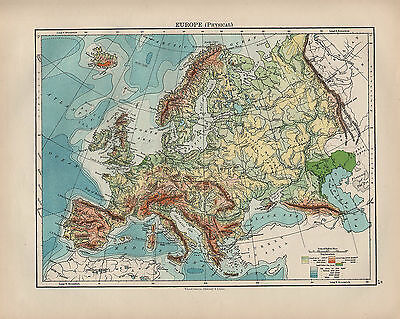 Map Of Uk 1900.1900 Victorian Map Europe Physical Land Heights Sea Depths