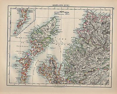 1900 Victorian Map ~ Scotland North West Isle Of Skye Ross Sutherland Inverness