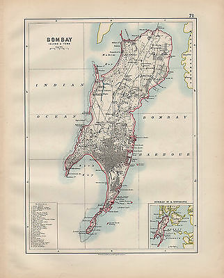 1900 Victorian Map ~ Bombay Island & Town ~ With Public Building Hospital Hall