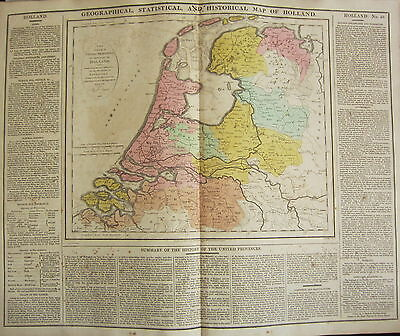 1813 Large Hand Coloured Map ~ Holland ~ Geological Statistical & Historical