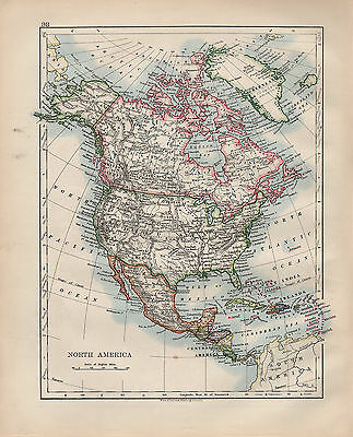 1900 Victorian Map ~ North America ~ United States Central West India Islands