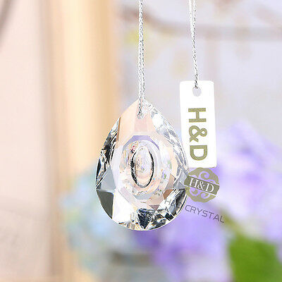 5pcs Clear Glass Crystal Almond teardrop prism A-Grade Suncatcher Pendant 38mm