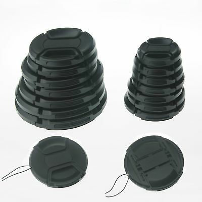 10PCS 52mm Center-Pinch Snap-On Front Lens Cap with Cord for Cameras