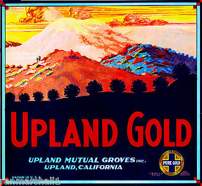 Upland San Bernardino California Gold Orange Citrus Fruit Crate Label Art Print