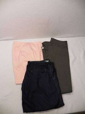 3 Women's Pants Lot Sz 6 M Gap Express Blue Gray Pink Dress Slacks Capri