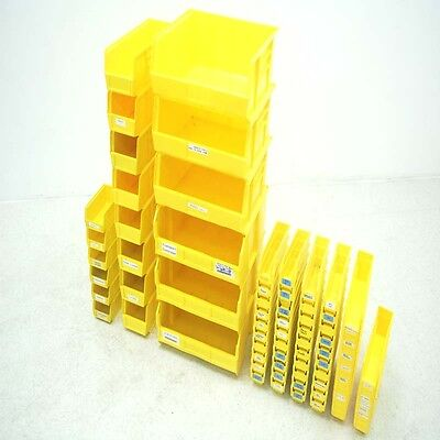 Lot of 83 Various Size Quantum Yellow Plastic Storage Stackable Bins
