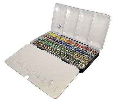 Rembrandt Artists Quality Watercolour Metal Box Set - 48 Half Pan with brush