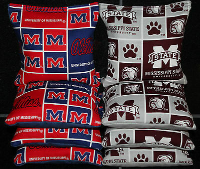 Cornhole Bean Bags w MISSISSIPPI STATE BULLDOGS & OLE MISS Fabric ACA Game Toss