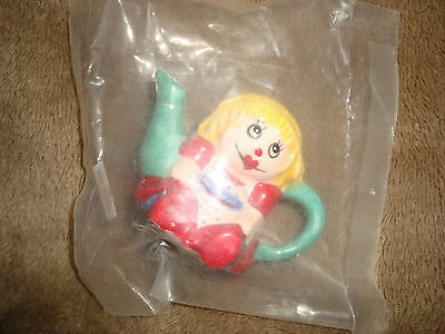 """Red Rose Tea miniature Teapot Doll Figure 1.75"""" tall in package"""