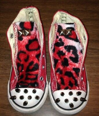 PUNK RED LEOPARD RARE  STUDS  All Star Converse Toddler Girl  SHOES -9