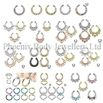 Nose Ring Fake Cheater Non-Piercing Nose Septum Hanger Clip On - Choose Style