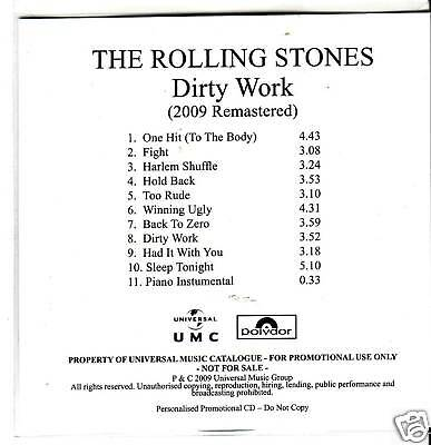 """ROLLING STONES """"Dirty Work"""" 2009 Remastered PROMO"""