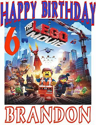 Personalized LEGO MOVIE Birthday Party Gift Present T Shirt with Name On T