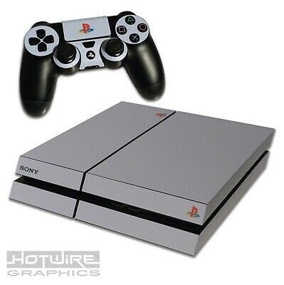 Playstation 4 PS4 Skin Sticker Kit - Anniversary Style Grey - Colour Retro Logo