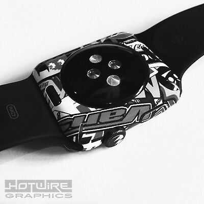 APPLE WATCH - B&W Stickerbomb Skin Wrap - 42mm ONLY Armour Protection UK Made