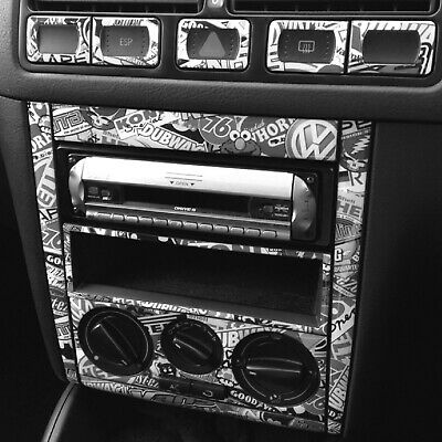 VW GOLF & BORA MK4 B&W Stickerbomb Centre Dash Skin Sticker Kit. Black & White