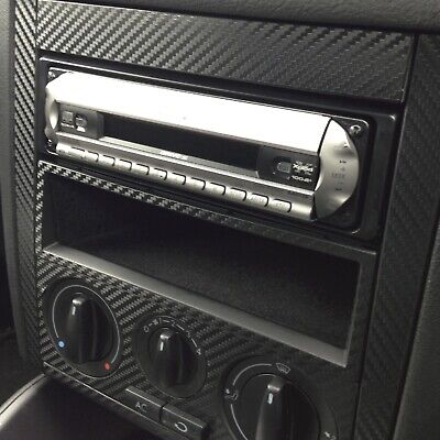 VW GOLF & BORA MK4 Carbon Fibre Vinyl Centre Dash Sticker Skin Kit TEXTURED