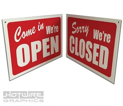 OPEN & CLOSED Shop Window Sign (Reversible) - Rigid Plastic with hanger and hook