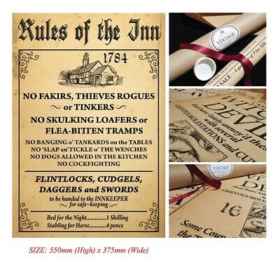 RULES OF THE INN... Vintage Style Poster in Tube... British Nostalgia... GIFT