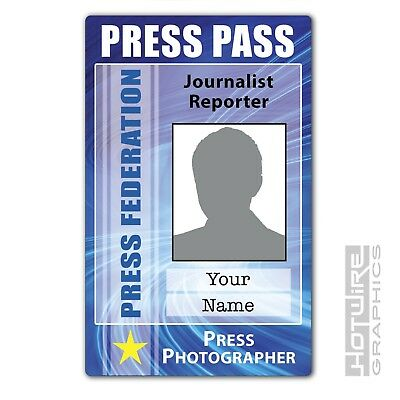 PERSONALISED Printed Novelty ID- PRESS PASS Photographer Reporter Card Media