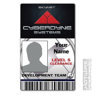 PERSONALISED Printed Novelty ID- SKYNET Cyberdyne Systems Pass (TERMINATOR FILM)
