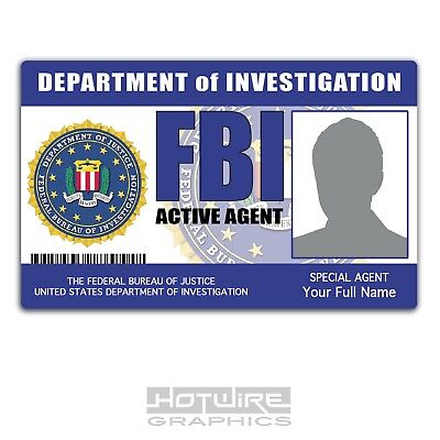 PERSONALISED Printed Novelty ID- FBI United States Police Card. TV FILM Prop