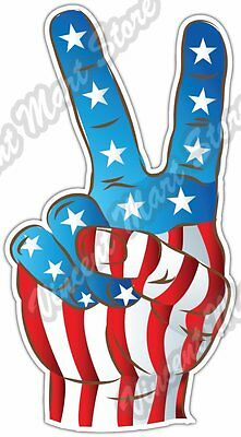 United States USA Victory Sign Flag Car Bumper Window Vinyl Sticker Decal 5X3.5""
