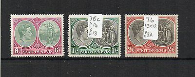 St Kitts-Nevis 1938-50 6d, 1s and 2s 6d UM