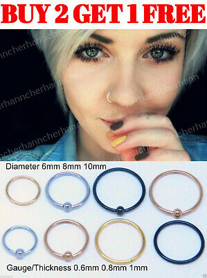 Nose Ring Nose Hoop Surgical Steel Tragus Cartilage Helix Ear Lip Piercing Ring