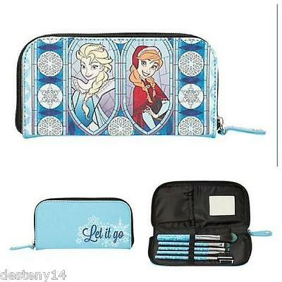 Disney Frozen Elsa and Anna Let It Go! Cosmetic Brush Set Make-Up Bag Purse NEW