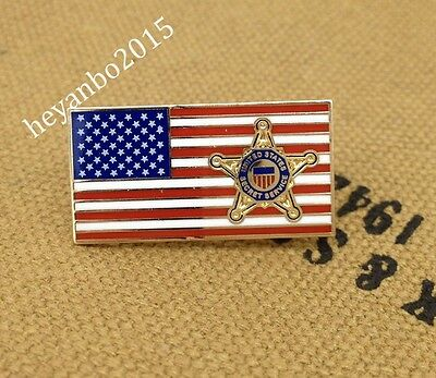 Us Secret Service Metal Chest Pin Badge On Usa Flag Pin.