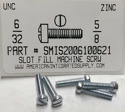 6-32x5/8 Fillister Head Slotted Machine Screws Steel Zinc Plated (35)