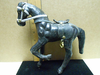 Handmade Black Leather Wrapped Stallion Equestrian Horse Glass Eyes