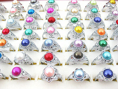 10Pcs Wholesale Mixed Lots Vintage Artificial Pearl Rings Jewelry New J219