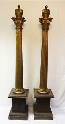 Beautiful Pair of Antique Polychrome Painted Carved Wooden Columns Ca. 1900