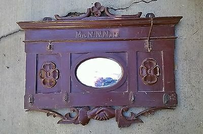 VNTG UNUSUAL Folk Art Ornate Antique Wood Architectural Salvage CoatRack Mirror