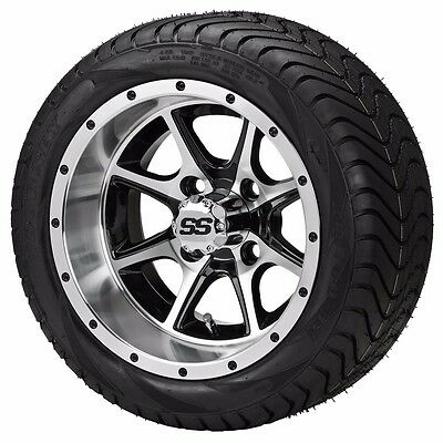 Set of 4 - 215/35-12 Tire on a 12x7 Black/Machined Type 8 Wheel w/FREE freight
