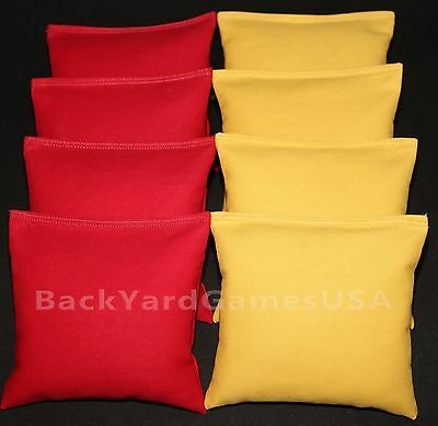 CORNHOLE BEAN BAGS Red & Gold Yellow  8 ACA Regulation Corn Hole Game Toss Bags